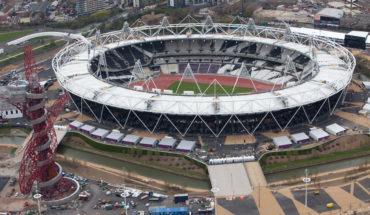 Aerial view of the Olympic Park showing the Olympic Stadium  with the Orbit to the left. Picture taken on 16 April 2012.