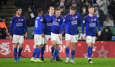 leicester celebrate vs arsenal premier league